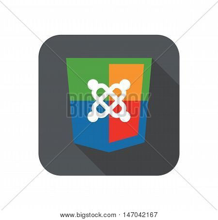 vector illustration of web development shield sign symbol of web development content system. isolated badge on white background