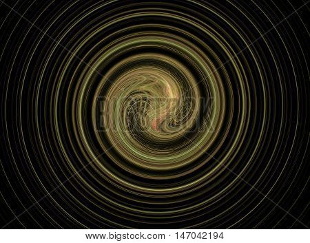 Abstract round green circles fractal on black background