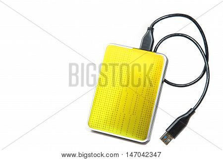 Yellow External Hard drive on white background