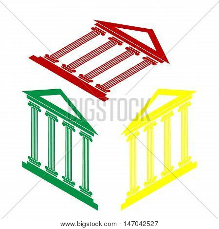 Historical Building Illustration. Isometric Style Of Red, Green And Yellow Icon.