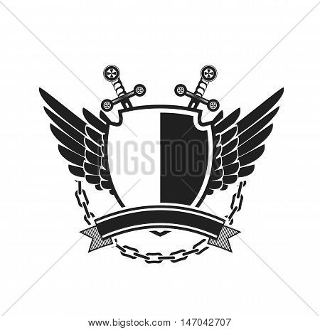 Vector illustration of heraldic coat of arms symbology with additional space for your Insignia black and white