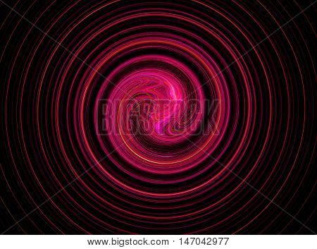 Abstract round red bright circles fractal on black background