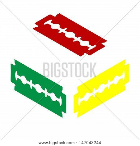 Razor Blade Sign. Isometric Style Of Red, Green And Yellow Icon.