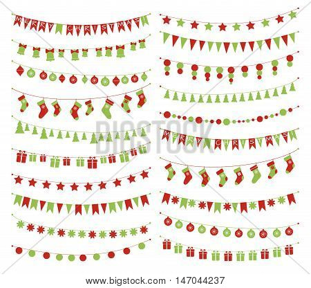 Vector set of christmas buntings and garlands.
