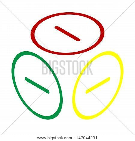 Negative Symbol Illustration. Minus Sign. Isometric Style Of Red, Green And Yellow Icon.