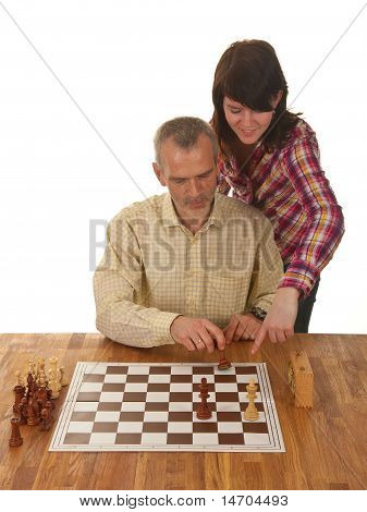 A Girl Is teaching Her Father How To Checkmate The Enemy King
