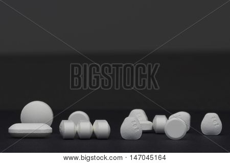 pills and tablets drugs studio macro closeup