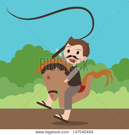 kuda lumping traditional Indonesia games attraction dancing riding horse vector