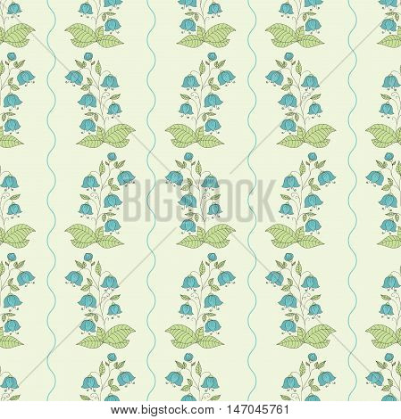 Seamless pattern with hand drawn bellflowers on a light background. EPS10 vector illustration.