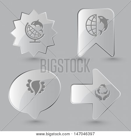4 images: globe and shamoo, bird, protection sea life. Animal set. Glass buttons on gray background. Vector icons.