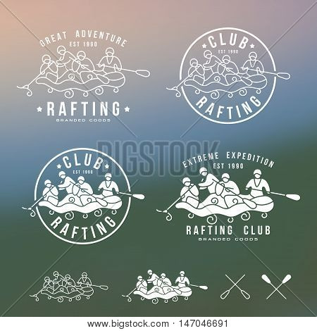 Rafting club emblem and design elements. Print on blurred background