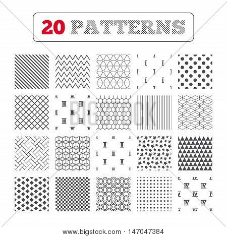 Ornament patterns, diagonal stripes and stars. Roman numeral icons. 1, 2, 3 and 4 digit characters. Ancient Rome numeric system. Geometric textures. Vector