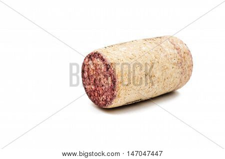 wine cork  cylinder on a white background