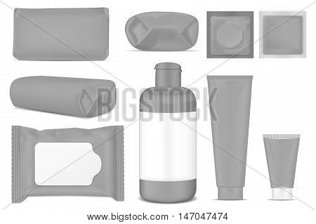 Big set. Black empty plastic packaging for fashion cosmetics hygiene. Blank foil sachet.