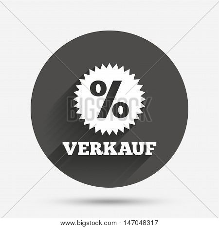 Verkauf - Sale in German sign icon. Star with percentage symbol. Circle flat button with shadow. Vector