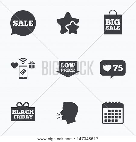 Sale speech bubble icon. Black friday gift box symbol. Big sale shopping bag. Low price arrow sign. Flat talking head, calendar icons. Stars, like counter icons. Vector