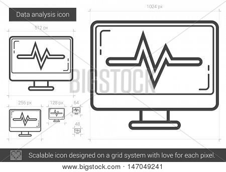 Data analysis vector line icon isolated on white background. Data analysis line icon for infographic, website or app. Scalable icon designed on a grid system.