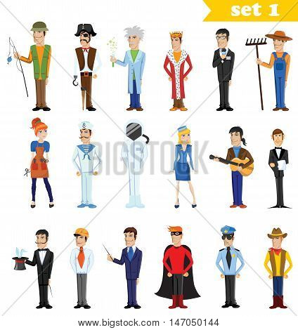 Different cartoon vector  people professions, characters set