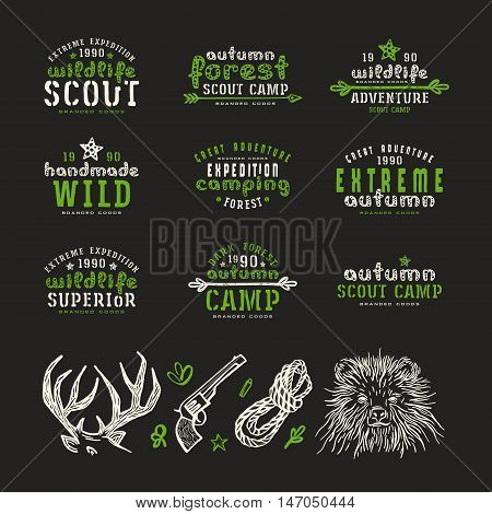 Set of typographic compositions for t-shirt and design elements. Outdoor recreation. Print on black background
