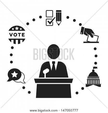 Speaker or candidate pictogram with election icon set around