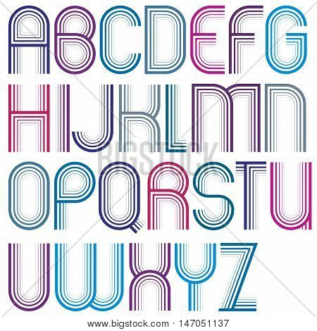 Large vector uppercase letters with rounded corners striped font with outline.