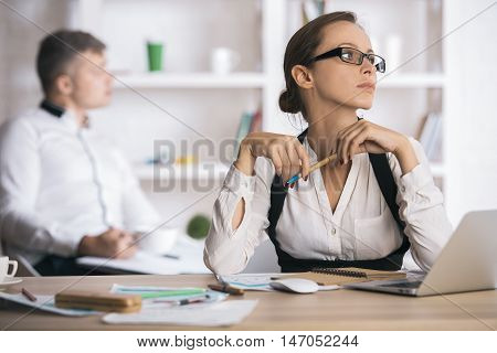 Attractive Lady Doing Paperwork