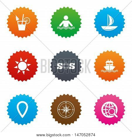 Cruise trip, ship and yacht icons. Travel, cocktail and sun signs. Sos, windrose compass and swimming symbols. Stars label button with flat icons. Vector