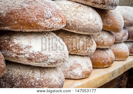 Many Loaves Of Bread In A Bakery