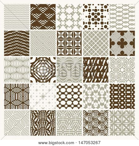 Collection of vector abstract seamless compositions best for use as wrapping papers symmetric ornate backgrounds created with simple geometric shapes.