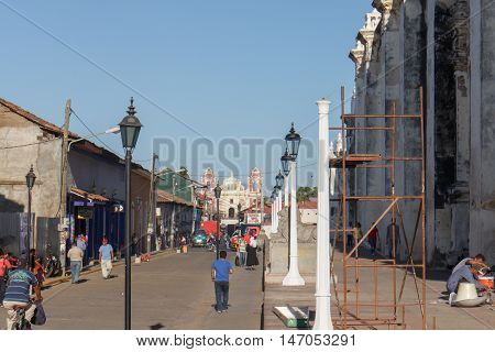 Leon Nicaragua - March 16 2016: principal street view at afternoon. Travel imagery for Nicaragua