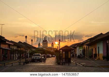 Granada Nicaragua on March 21 2016 La Calzada street view at afternoon. Travel imagery for Nicaragua