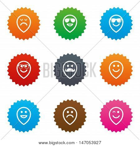 Smile pointers icons. Happy, sad and wink faces signs. Sunglasses, mustache and laughing lol smiley symbols. Stars label button with flat icons. Vector