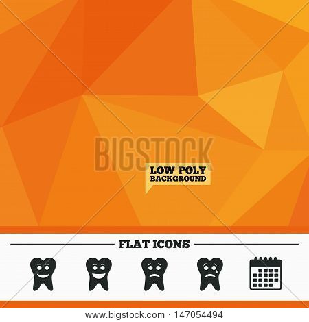 Triangular low poly orange background. Tooth smile face icons. Happy, sad, cry signs. Happy smiley chat symbol. Sadness depression and crying signs. Calendar flat icon. Vector