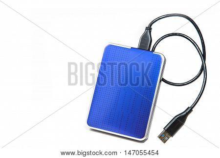 Blue External Hard drive on white background