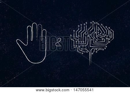 Stop & Think, Hand Gesture And Electronic Brain