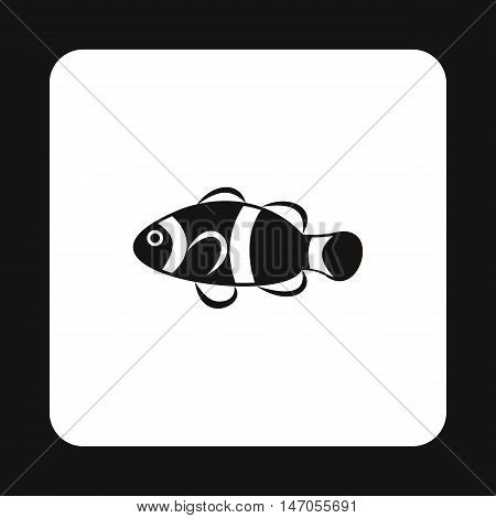 Clown fish icon in simple style isolated on white background. Sea creatures symbol vector illustration