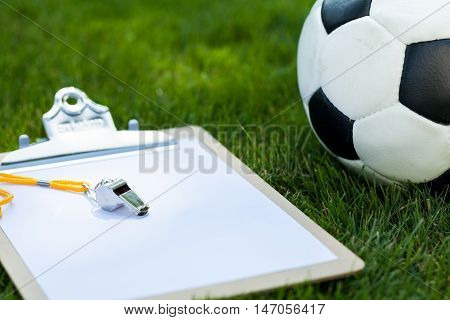 Blank Clipboard with Whistle and Soccer Ball