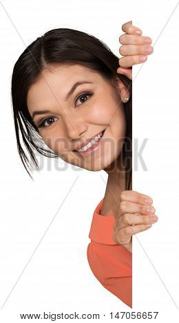 Smiling Young Woman Peeking from Behind Invisible Wall - Isolated