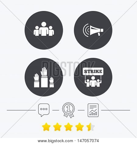 Strike group of people icon. Megaphone loudspeaker sign. Election or voting symbol. Hands raised up. Chat, award medal and report linear icons. Star vote ranking. Vector