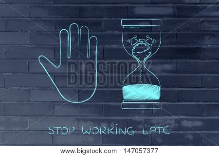 Hourglass With Melting Clock And Hand Making A Stop Gesture