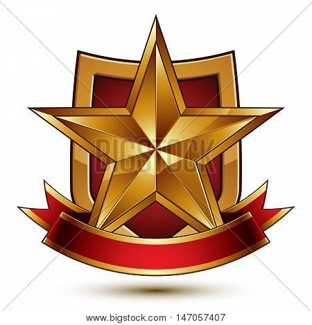3d vector classic royal symbol sophisticated protection shield with golden star and red wavy stripe decorative emblem isolated on white background dimensional glossy element.