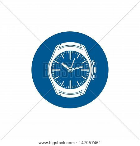 Graphic pocket watch illustration. Wristwatch with dial and an hour hand for use as web element or interface button.