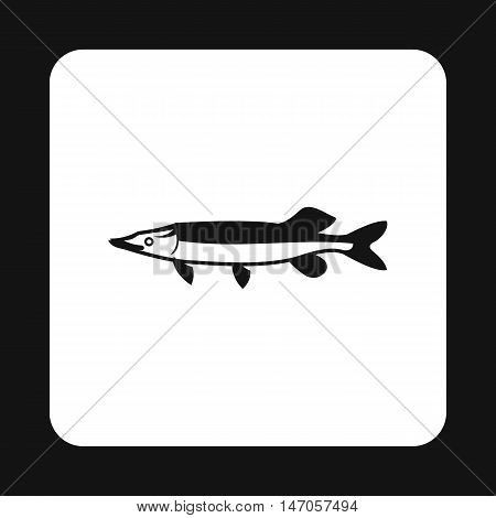 Pike icon in simple style isolated on white background. Sea creatures symbol vector illustration