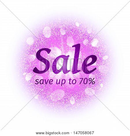 Sale banner on abstract round powder cloud with dust pink particles isolated on white background. Dust firework light effect with glow. Sparkles splash background. Vector illustration
