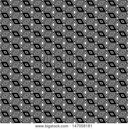 Seamless op art hexagons and diamonds pattern.