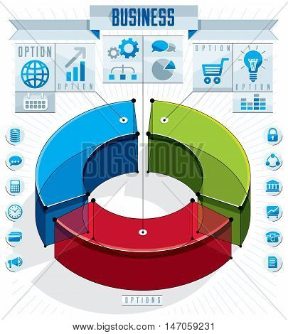 Creative infographics template three sectored 3d circle idea vector layout illustration.