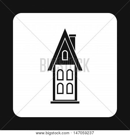 Two storey house with attic icon in simple style isolated on white background. Structure symbol vector illustration
