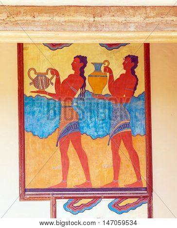 Water Carrier Fresco, Symbol Of Minoan Culture, Knossos Palace