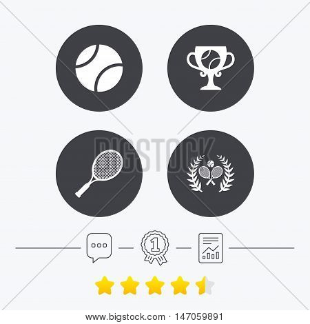 Tennis ball and rackets icons. Winner cup sign. Sport laurel wreath winner award symbol. Chat, award medal and report linear icons. Star vote ranking. Vector