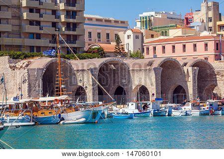 Fishing Boats And Arsenal, Heraklion, Crete, Greece